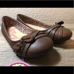 Jellypop Girl's Faux Brown Leather Flats